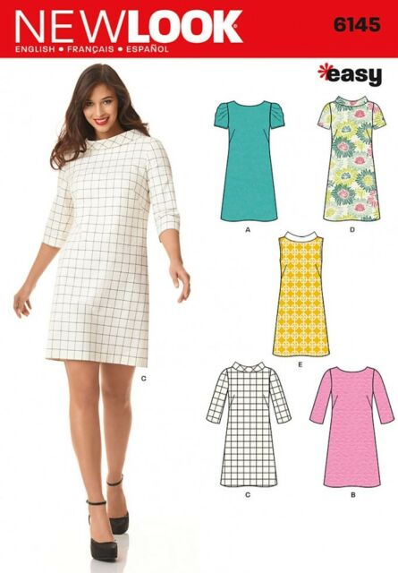 New Look Ladies Easy Sewing Pattern 6176 Above Knee Shift Dresses NewLook-6176