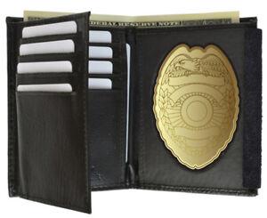 Black-Concealed-Carry-Badge-Leather-Men-039-s-Wallet-Flap-Shield-Holder