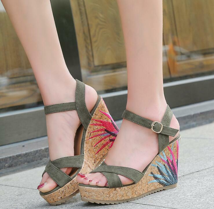 Womens Summer Flower Wedge High Platform High Wedge Heels Open Toe Fashion Sandals Hot A113 039a00