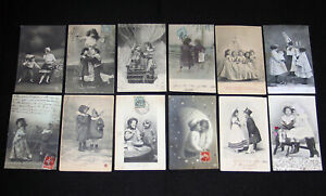 LOT-A27-12-CPA-1900-SCENE-ENFANT-GARCON-FILLETTE-FRATRIE-JEU-TENDRESSE-CLOWN