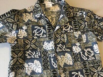 Boy's Vintage Hawaiian Shirt Sz 2-4 Blue Tapa Turtles Pockets Leaves Cotton