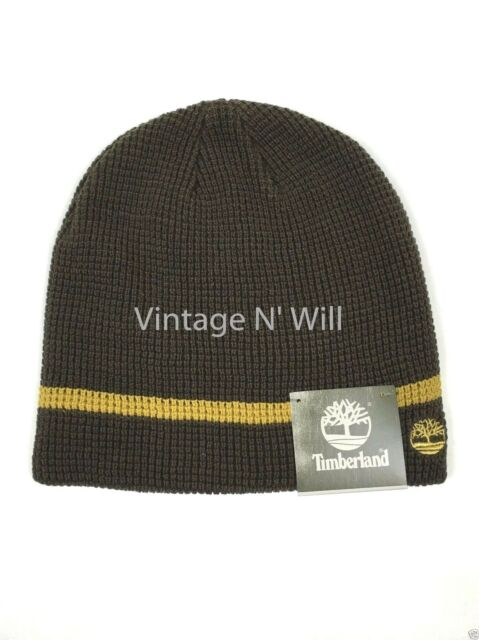a46aac17111 Timberland Boot Brown  Yellow Stripe Tree Logo Waffle Knit Beanie Cap Hat  Skull