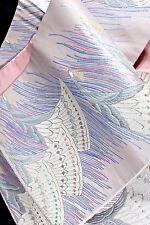 Fukuro OBI PINK GRAY Silver Cream Brocade Flying CRANES Birds SILK 31 X 431 cm