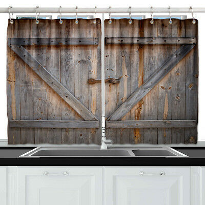 Rustic Wooden Barn Door Window Drapes Kitchen Curtains 2 Panels 55*39  Inches | eBay