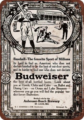 1910 Budweiser Beer /& Baseball Reproduction Metal Sign tin 8 x 12