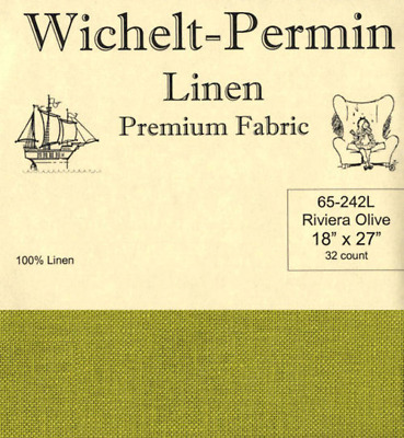 Wichelt Permin PREMIUM LINEN FABRIC 32 Count Cross Stitch 18x27 TOUCH OF YELLOW