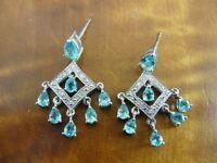 Blue Stones Dangle with Cubic Zirconia Sterling Silver 925 Pierced Earrings
