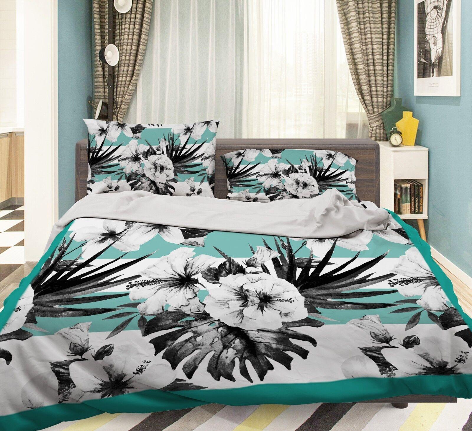 3D Flower Leaves 78 Bed Pillowcases Quilt Duvet Cover Set Single King UK Summer