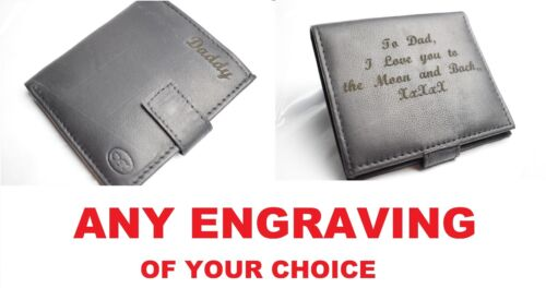 Mens Engraved Wallet Elegant Custom Sentimental Soft Real UK Leather gift dad UK