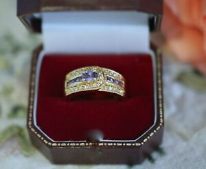 Antique-Jewellery-Gold-Ring-Amethyst-White-Sapphires-Vintage-Jewelry-size-R-9