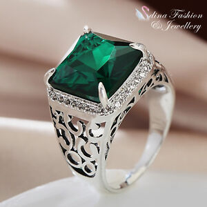 18K-White-Gold-GP-Made-With-Swarovski-Crystal-Square-Cut-Emerald-Men-s-Ring