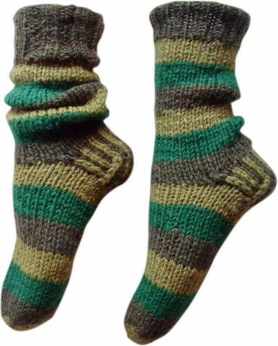 FAIR TRADE NEPALESE WINTER WOOL SLIPPER COLOURFUL STRIPED SOCKS SIZES 9""