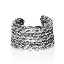925 Silver Ear Cuff Open Non Pierced Earring Helix Triple Rose Braid Wide