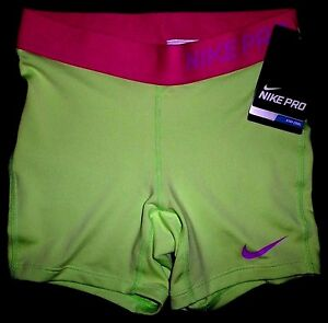 Details about NEW NIKE PRO Girls Dri FIT Competition Base Layer Shorts Volt Pink YOUTH Kids M