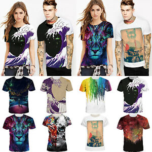 f3f6ce4f Men Women Unisex 3D Graphic Printed Sports Couple Short Sleeve Tee ...