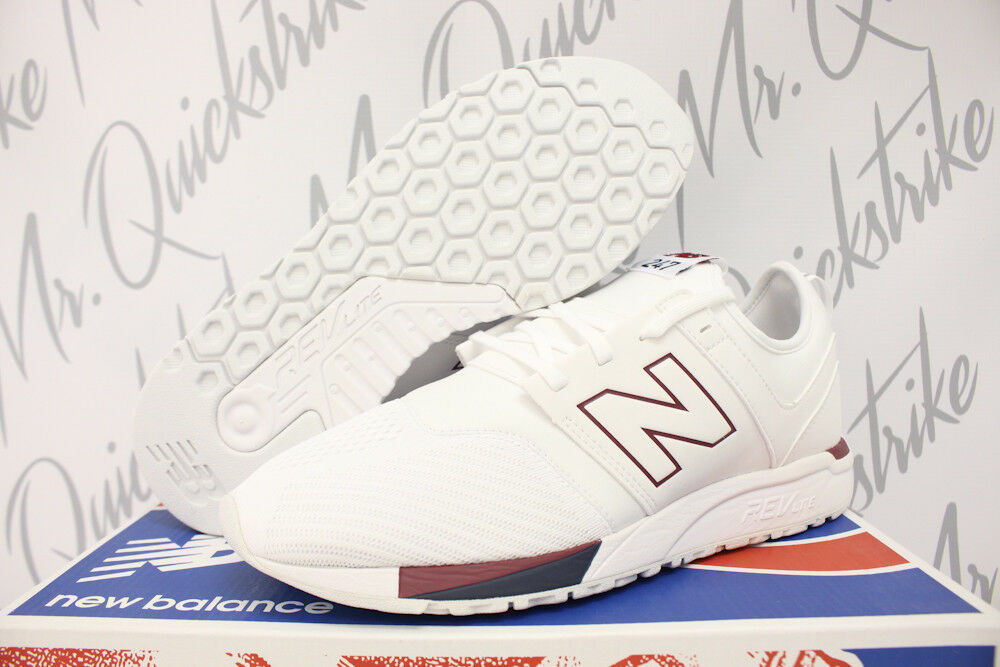 NEW BALANCE 247 SZ 10.5 WHITE BURGUNDY RED NAVY blueE RUNNING SHOES MRL247TR