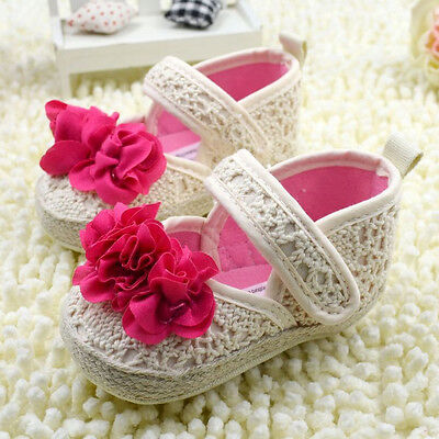 Baby Girl Soft Sole Crib Shoes Toddler Sneaker Age 0-18 Months