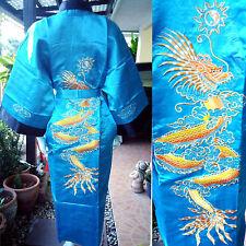 Asia Herren/Damen Kimono Japan/China Satin Bade-/Morgenmantel Türkis/Schwarz