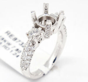 18k White Gold VS2,G 1.24tcw Three Stone Engagement Accent Semi Mount Ring 7.5