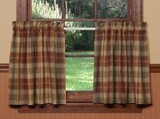 Item 2 Saffron Tier Curtains 72wx36l Country Red Sage Green Golden Tan Plaid Cotton