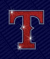 Mlb - Texas Rangers - Bling - Iron-on Glitter Vinyl & Rhinestone Transfer