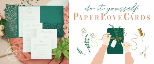 DIY ROSE GOLD LASER CUT WEDDING INVITATIONS WITH ENVELOPES PRINTABLE TEMPLATE