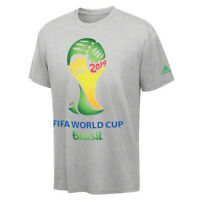 Adidas World Cup Wc 2014 Soccer Official Logo Badge Fan Shirt Gray