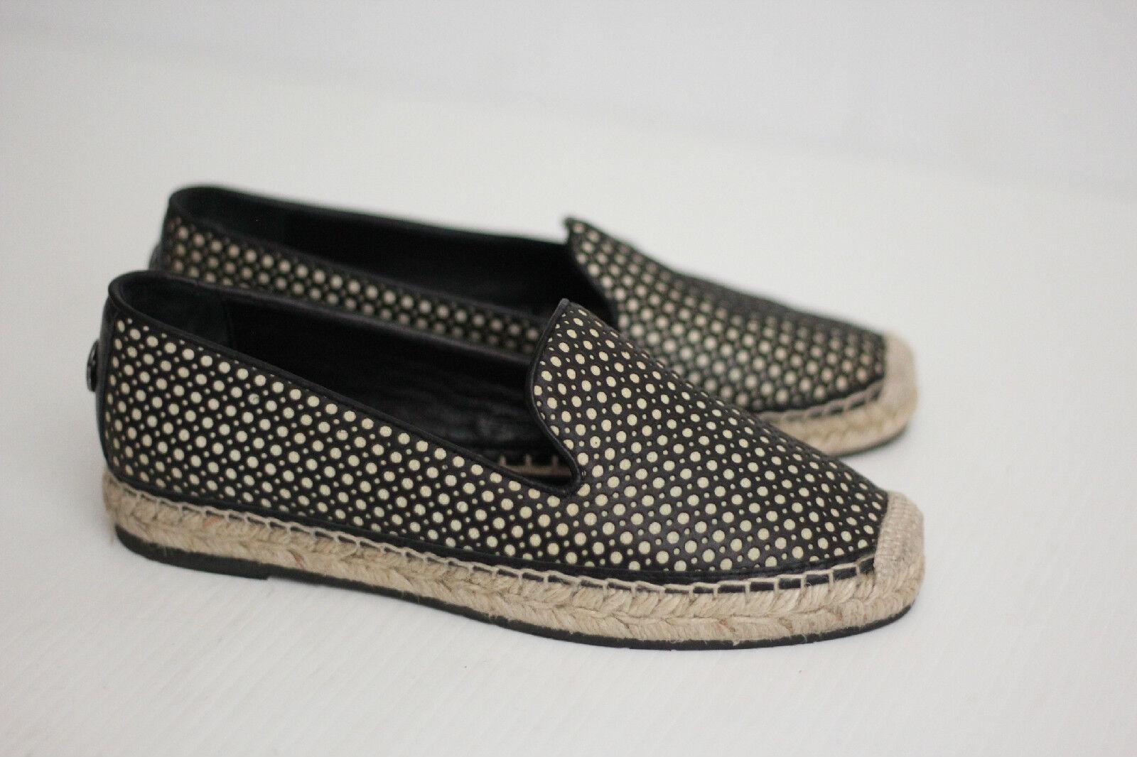 Womens Moncler 'Josette' Calfskin Calfskin Calfskin Leather Espadrilles - Black - 5US   35 (Z13) 66805c