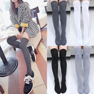 wide selection of colors quality hot-selling cheap Details about Womens Cotton Uniform Stocking Long Over Knee Thigh High  Socks Leggings Girls