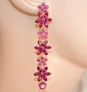 ORECCHINI-donna-ORO-ROSA-FUCSIA-fiori-cristalli-pendenti-lunghi-strass-G55