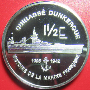 FRENCH-MARTINIQUE-2004-1-1-2-EURO-SILVER-PROOF-ESSAI-MARINE-BATTLESHIP-DUNKERQUE
