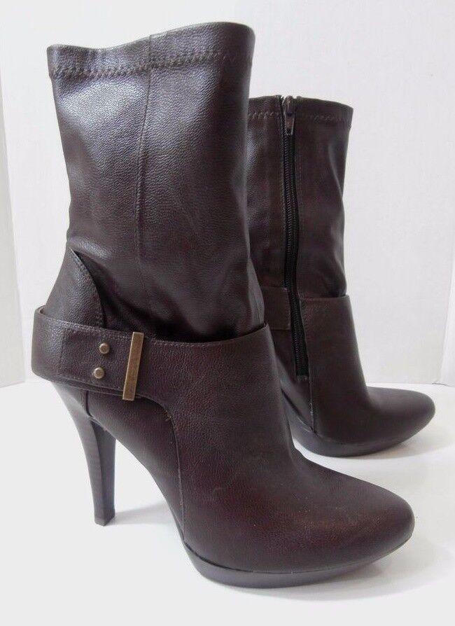 Nine West JaceyJay Dark Brown Fx Leather Platform Ankle High Heel Boot 8.5M