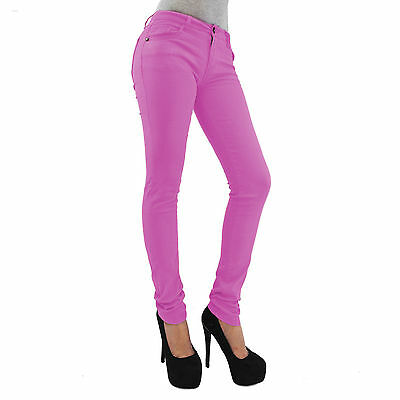 Womens Jeggings Size 8 26 Ladies Fit Skinny Coloured Stretchy Trousers Jeans