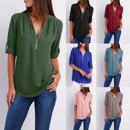 Women Chiffon Shirt V-neck Long Sleeve Loose Top Plain Zipper T-Shirt Eager