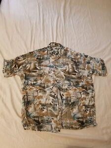 Moda Campia Moda Hawaiian Shirt Sailing Sailboat Rayon Short Sleeve Shirt Size M