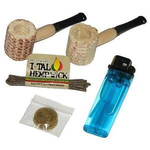 2 Mini Corn Cob Black Tip Tobacco Pipes Plus Hemp Wick Brass Screens & Lighter