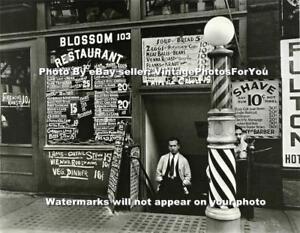 1935-New-York-City-Barber-Shop-Restaurant-Barber-Pole-Shave-Depression-Era-Photo