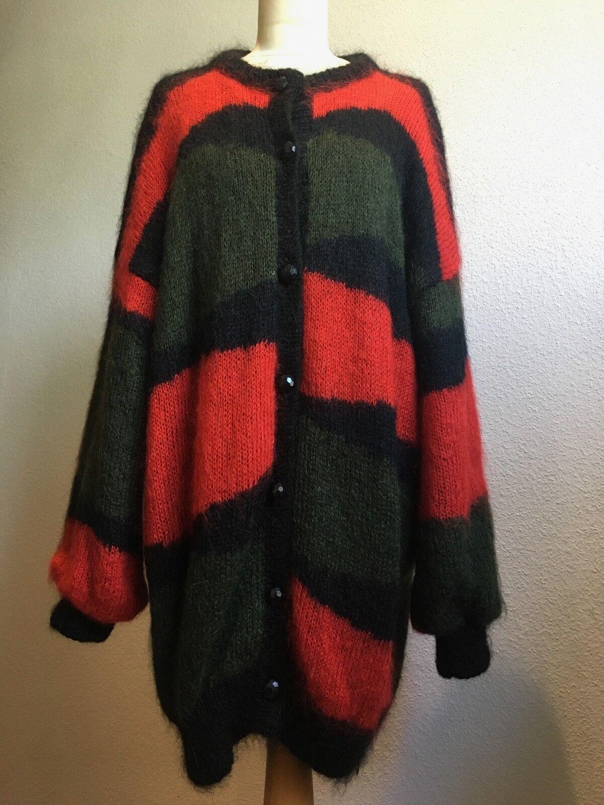 Dolores CARDIGAN LANA MOHAIR True Vintage 80er verde oliva rosso OVERDimensione Mis. M L
