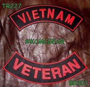 VIETNAM VETERAN Red on Black Back Military Patches Set Biker Vest Jacket