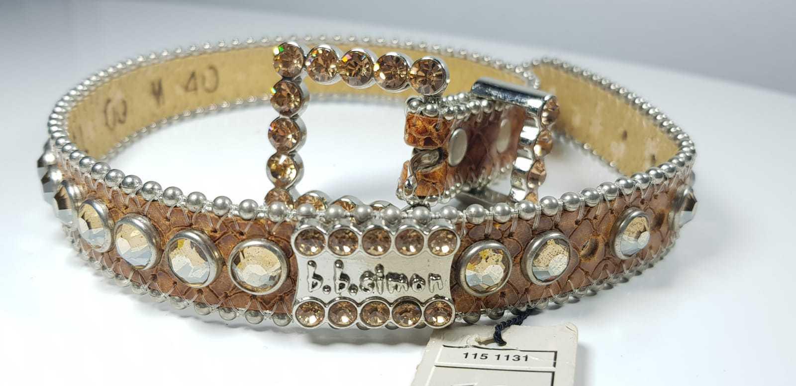 Crystallized  Swarovski stones lather belt for small dog