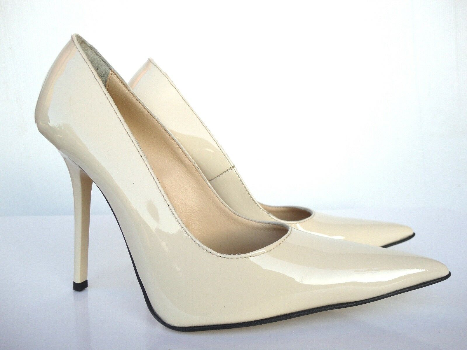 Giohel  tacón alto Pointy Toe pumps zapatos Leather decolte nude beige 38