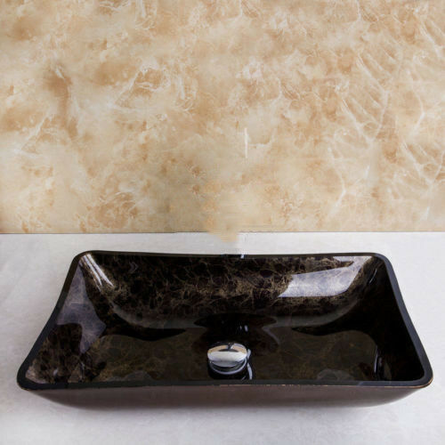 RE Black/&Brown Rectangular Bathroom Glass Basin Vessel Single Sink