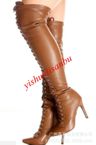 Fashion Womens Pointed Toe Stiletto Heel Over Knee High Boots Cross Strap Shoes