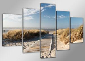 Bild-200x100-cm-5-tlg-die-See-echte-Leinwand-XXXL-Bilder-Nr-6310-gt-Visario