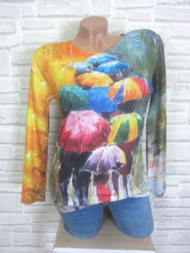 ITALY soffici finemente lavorato a maglia maglietta maglione pullover con Print 36 38 NUOVO e854