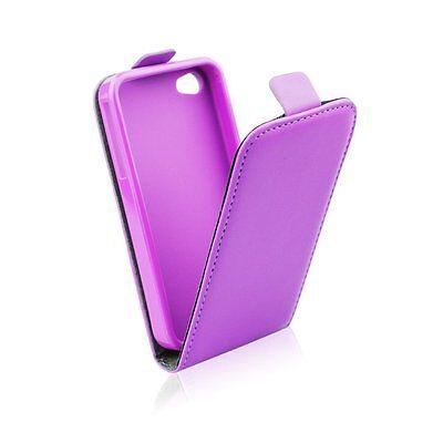 Leder-Imitat Hülle Etui Flip Cover Flexi Silikon Klapp Tasche für Samsung Handys