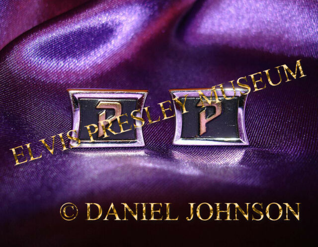 Elvis Presley owned and worn cufflinks with the initial P Graceland