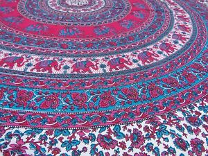Elefanten-Indische-Tagesdecke-Mandala-Doppelbett-Decke-Wandbehang-Bettueberwurf-M