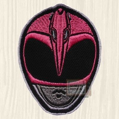 Power Rangers Pink Mask Patch TV Series Mighty Morphin Kimberly Hart Embroidered
