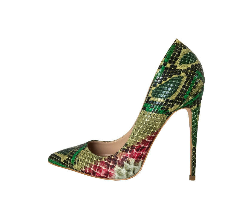 Fashion Wouomo Sexy High Heels verde Snake Pattern Pointed Toe Stiletto scarpe